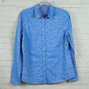 Boden Blue Flying Ducks LS Button Down Blouse